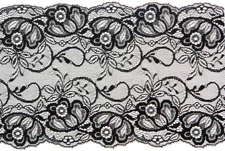 Photo pour flowered  black lace on white background                             - image libre de droit