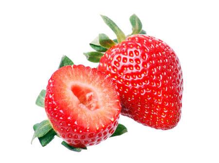 Fresh strawberries in white background