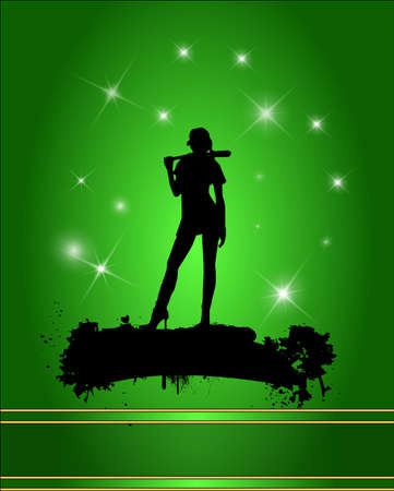 Baseball player silhouette in green background.