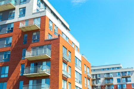Foto de Modern condo buildings with huge windows in Montreal, Canada. - Imagen libre de derechos