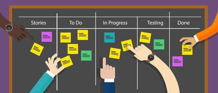 Illustration pour scrum board agile methodology software development illustration project management - image libre de droit