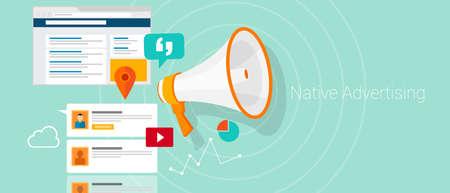 Illustration pour Native social media content advertising marketing vector illustration - image libre de droit