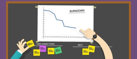 Illustration pour scrum agile methodology software development illustration burn down project management - image libre de droit