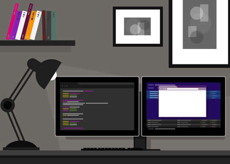 dual two monitor screen stocks programming coding web desk