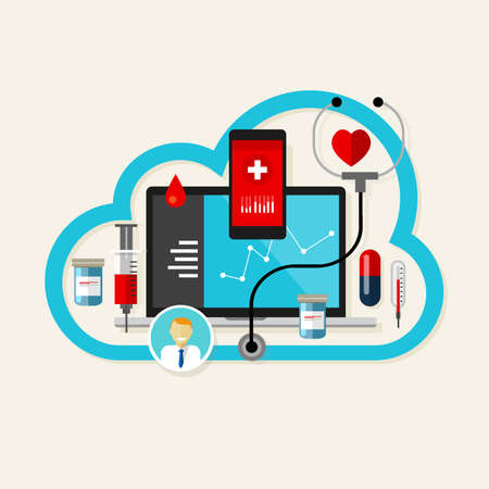 online cloud medical health internet medication vector illustration