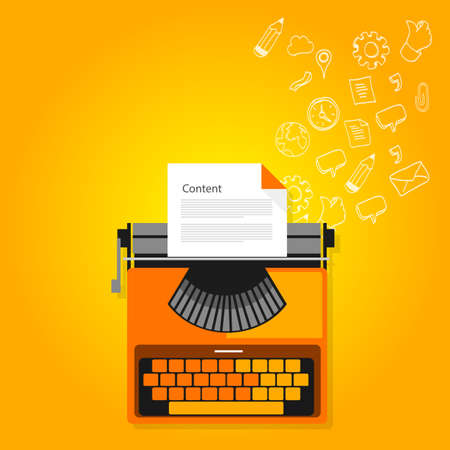content marketing copywriting typewriter icons flat vector