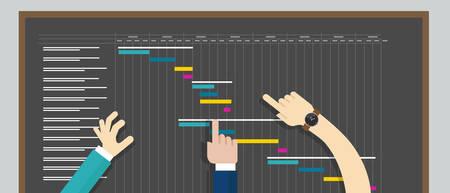 Illustration pour project management gant-chart planning timeline collaboration - image libre de droit