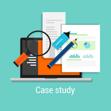 Illustration for case study studies icon flat laptop magnifier learn analysis - Royalty Free Image