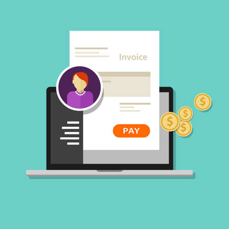invoice invoicing online service pay click laptop payment pay