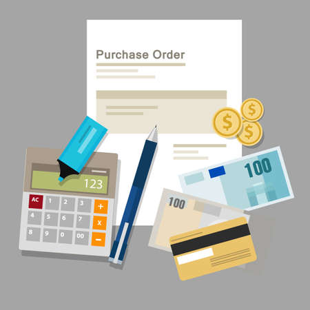 purchase order po document paper work procurement process vector