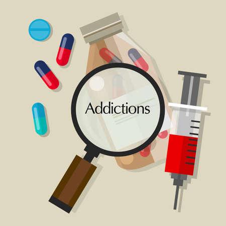 addictions drug addicts pills overdose vector illustration icon vector