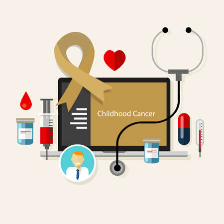 childhood cancer children medical gold ribbon treatment health disease  vector
