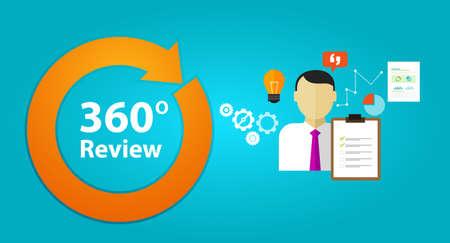 Illustration pour 360 degree review feedback evaluation performance employee human resource assessment vector - image libre de droit