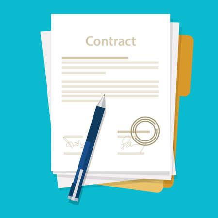 Illustration pour signed paper deal contract icon agreement  pen on desk  flat business illustration vector drawing - image libre de droit