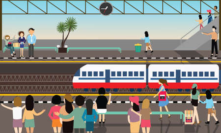 Illustration pour train station busy illustration vector flat city transportation cartoon illustration - image libre de droit