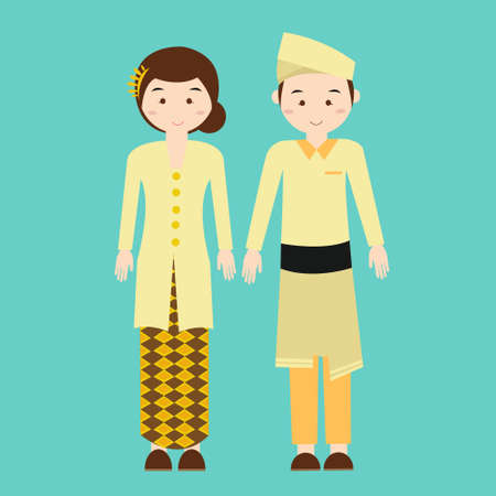 couple wear malaysia malaysian traditional clothes vector drawing illustration