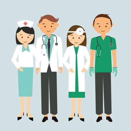 Ilustración de medical team doctor nurse group worker standing together man woman mae female cartoon character illustration flat - Imagen libre de derechos