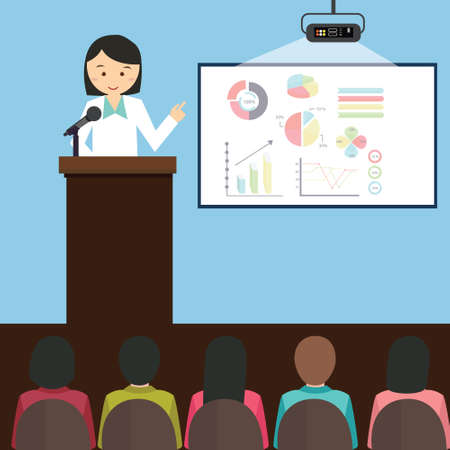Ilustración de woman girl female give presentation presenting chart report speech in front of audience illustration cartoon - Imagen libre de derechos