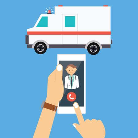 call ambulance car doctor via mobile phone medical paramedic emergency vector illustration drawing