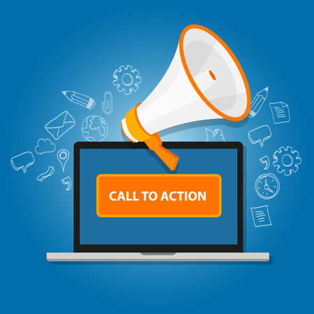 Illustration for call to action button vector illustration laptop with megaphone - Royalty Free Image
