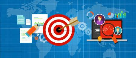 Vektor für online strategy measure manage internet traffic target chart vector - Lizenzfreies Bild
