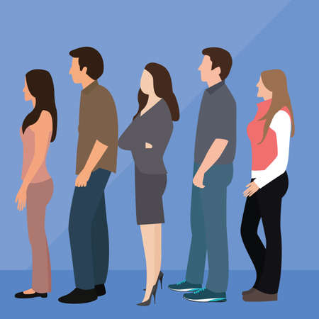 Illustration pour group of people man woman queue line standing waiting vector - image libre de droit
