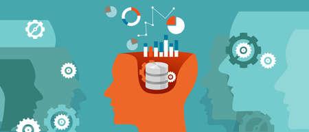 Illustration pour data scientist database science data graph thinking computing vector - image libre de droit