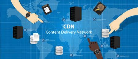 Illustration pour CDN content delivery network distribution file access across server vector - image libre de droit