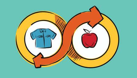 Illustration pour barter commerce trade transaction economic concept exchange swap goods drawing illustration - image libre de droit