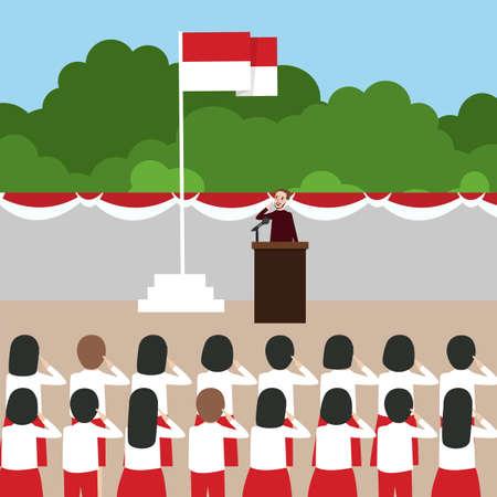 Illustration pour Indonesia flag ceremony school kids during national independent day - image libre de droit