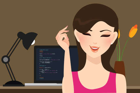 Illustration for beautiful girl female programmer occupation jobs programming in laptop screen code behind vector - Royalty Free Image