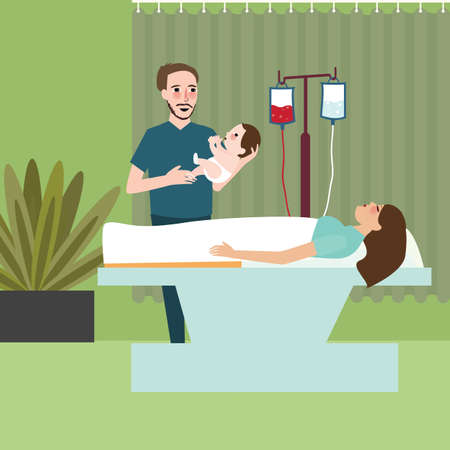 Illustration pour woman after labor giving birth dad father holding the baby - image libre de droit