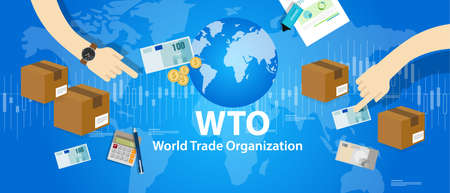 WTO World Trade Organization vector illustration market