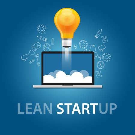 Illustration pour lean start-up product launch bulb idea technology company vector - image libre de droit