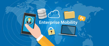 Illustration pour enterprise mobility connected everywhere company working anywhere mobile - image libre de droit