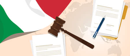 Italy law constitution legal judgment justice legislation trial concept using flag gavel paper and pen