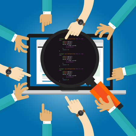 Illustration pour software review testing coding and programming performance user acceptance test UAT client revision hand looking closer with magnifier - image libre de droit