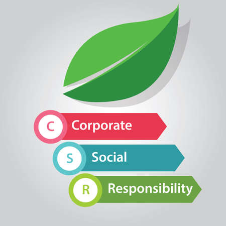 Illustration pour CSR corporate social responsibility company business help community - image libre de droit