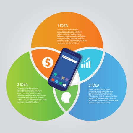 Illustration for mobile smart-phone communication technology template info-graphic color bright overlapping circle three area - Royalty Free Image