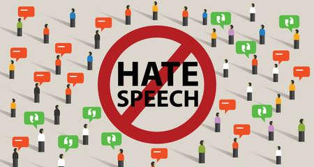 Illustration pour Stop hate speech conflict violence start from comments aggressive communication by crowd vector - image libre de droit