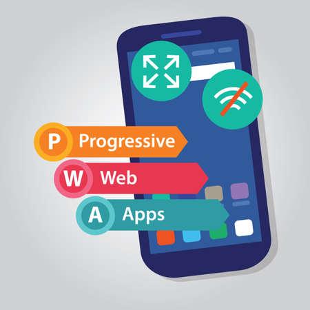 Illustration pour PWA Progressive Web Apps smart phone web application development vector - image libre de droit