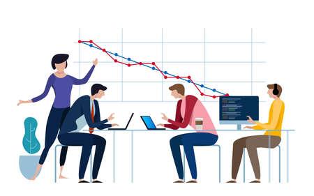 Illustration pour Burn-down chart, Scheme of Agile Methodology. Scrum daily meeting. Development process. vector - image libre de droit