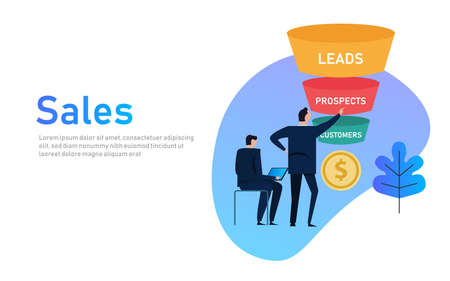 Foto de Sales funnel business concept of leads prospects and customers coin money. - Imagen libre de derechos