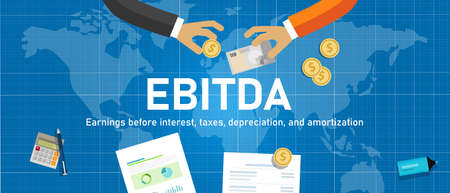 Illustration pour EBITDA Earnings before interest, tax, depreciation and amortization. hand with money world trading transaction - image libre de droit
