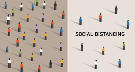 Illustration for Social distancing prevention corona virus covid-19 ector illustration - Royalty Free Image