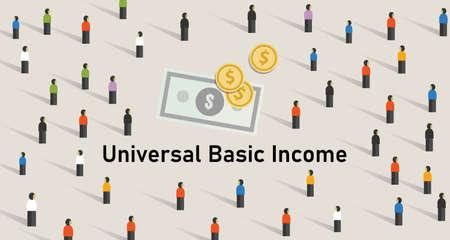 Illustration pour Universal basic income UBI is government guarantee for citizen receives a guaranteed minimum income. - image libre de droit