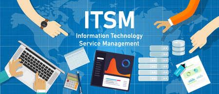 Illustration pour ITSM information technology service management quality management computing systemic solution - image libre de droit