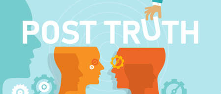 Illustration pour post truth concept of politics debate is framed largely by appeals to emotion disconnected from the details of policy - image libre de droit