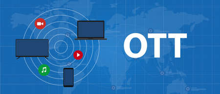 Illustration for OTT over the top media distribution movie and music using television phone laptop - Royalty Free Image