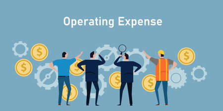 Illustration pour operational expense opex company operating cost businessman management - image libre de droit
